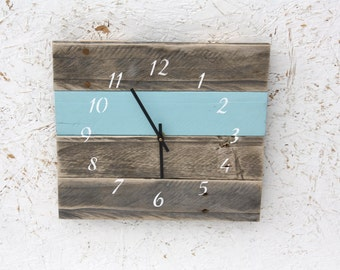 Pallet Wood Wall Clock...Reclaimed wood clock...Custom Color...Nautical style numbers...Gift idea.  Wedding.  Housewarming.