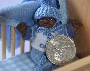 Dollhouse Doll - 1/12 Scale Miniature Infant Boy - African American/Black - Handmade OOAK Polymer Clay - Moveable Arms, Legs - Joseph Warren