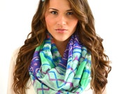 SALE Ikat Western CHEVRON Geometric Aztec Infinity Loop Scarf Handmade Extra Wide Chunky Colorblock Women's Fashion Accessory