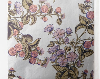 Wrapping Paper Vintage Gift Wrap Flowers Floral Berries Silver Iridescent  All Occasion Marcel Schurman