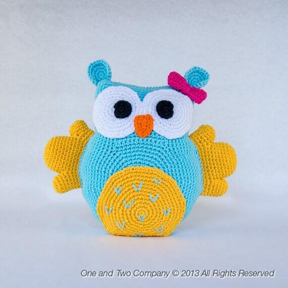 Cute Owl Pillow Pattern : Owl Pillow PDF Crochet Pattern Instant Download Animal