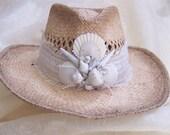 Ladies Hat, Sun Hat, Straw Beach Hat, Straw Hat, Sun Hats for Women, Beach Wedding Hat, Shell Hat, Seashell Hat, Coastal Hat, Summer Hat