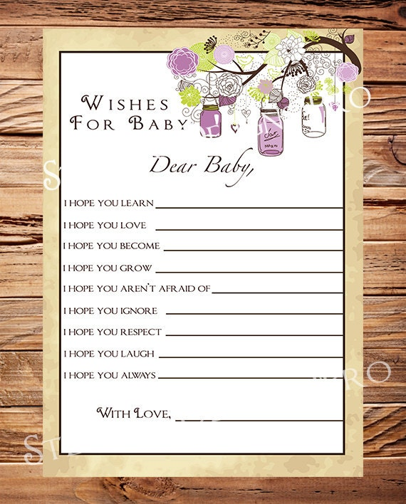 matching well wishes card baby wishes card instant download baby shower advice card purple mason jars baby wishes card a18