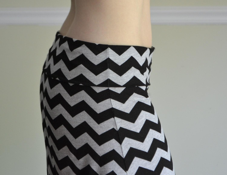 maxi skirt black gray chevron zig zag s