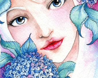 5x7 Blue Hydrangeas and Girl Art Print