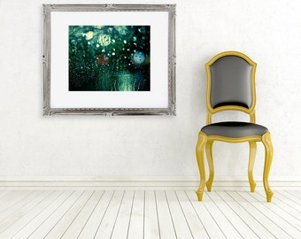color photography rain drops photo fine art photograph rainy window bokeh lights windscreen green black night abstract