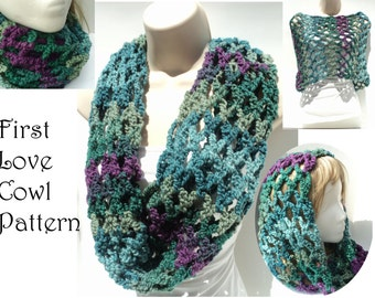 Crochet PATTERNS -  Bulky Cowl - Chunky Chain and Flower - Spring Flower Net