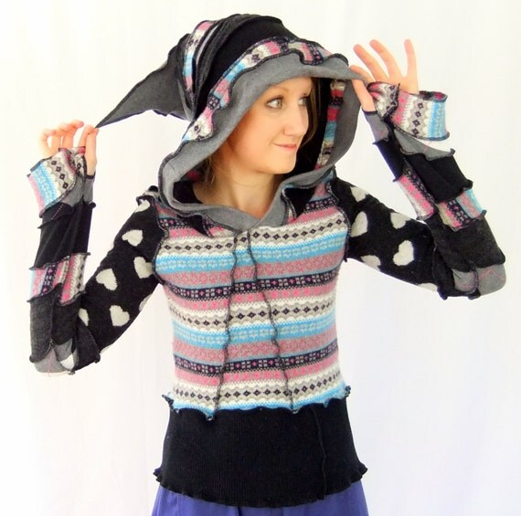 SALE - Black and grey hoodie - Pixie wool - XS