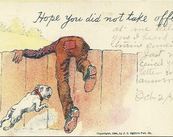 """Antique Undivided Back UB Postcard Comic  """"Hope You Did Not Take Offence""""  1905"""