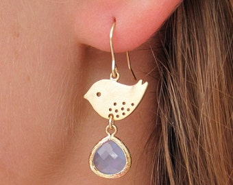Gold Bird Earring with Glass Accents