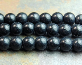 Black Obsidian (natural), 6mm round-16 inch strand
