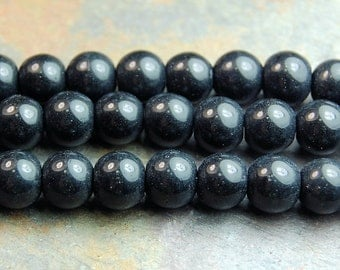Black Obsidian (natural), 8mm round-16 inch strand