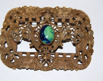 Wonderful Huge Filigree & Art Glass Art Nouveau Edwardian Sash Pin