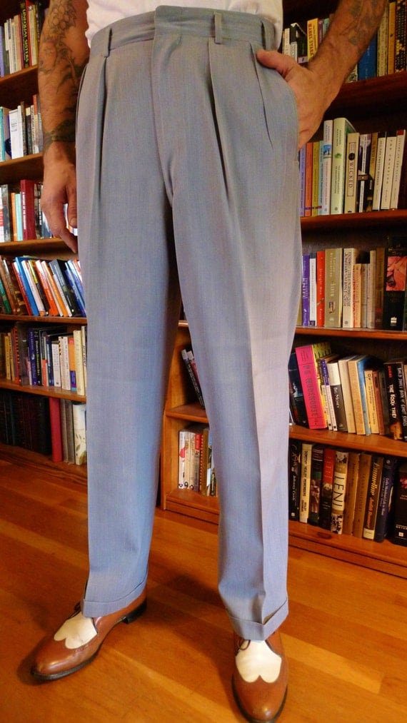 Mens 1940s 1950s Rayon GABARDINE Hollywood Pants Trousers Slacks In ...