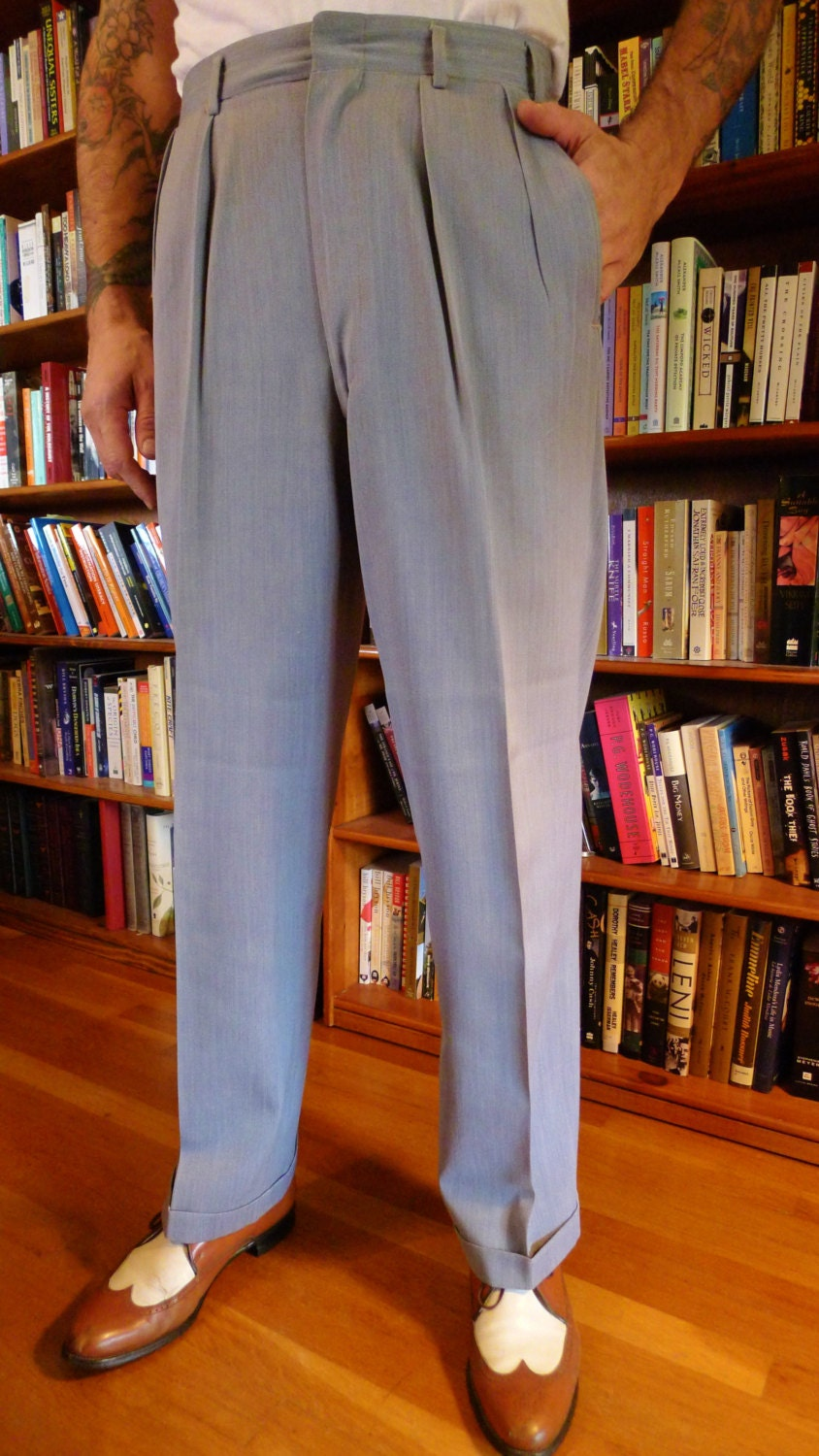 Mens 1940s 1950s Rayon GABARDINE Hollywood Pants Trousers