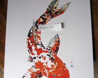 11x14 Koi Fish Watercolor Print