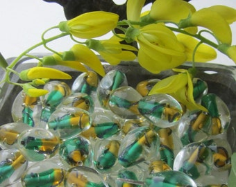 Lemon Lime  German Glass Beads