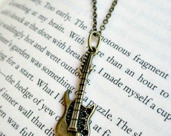 Guitar necklace-  Antique bronze guitar necklace- Rock and roll necklace- Music necklace- Electric guitar necklace- Guitar- Rock & Rol