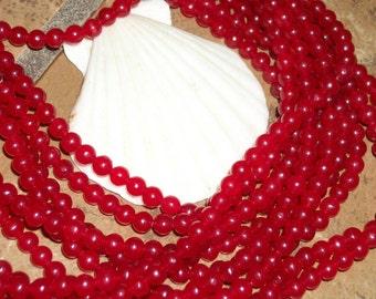 Red Jade -  4 mm round beads- full strand