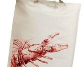 Red Crawfish Eco Friendly Canvas Tote Bag (isl021)