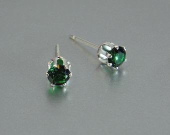 Emerald Stud, Post Earring, Sterling Silver Jewelry, Faceted Green Stud, May Birthstone, Silver Earrings, Minimalist Studs