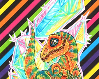 Crystal Disco Dino Original Marker Art