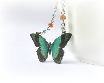 Emerald Butterfly necklace Wood pendant teal green brown caramel black wings Czech glass Gift for her Woodland jewelery Nature eco friendly