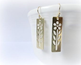 Golden Daisies earrings - Raw Brass gold flower bars cutouts gift for her Valentine idea everyday jewelry