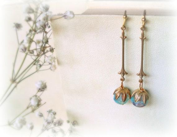 Muscari long earrings - golden teal aqua blue Czech laguna opalite glass beads raw brass flower everyday Gift for her something blue