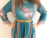 Teal Turquoise Pleated Print Floral Scarf Dress - SALE