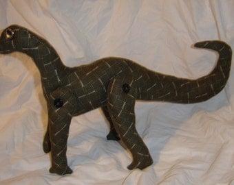 plush stuffed brontosaurus mokele mbembe upcycled recycled dinosaur stuffed animal ooak
