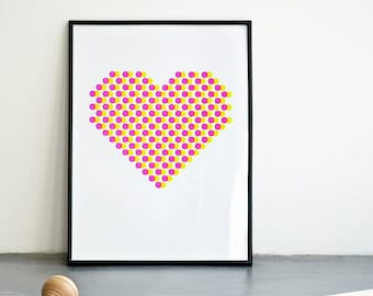 NEON Pink Poster, Every Day is Valentine, Romantic Gift, Heart Print, Neon Wall Art, Geometric Print, Circles Print, A3 or 11.7 x 15.7 in.