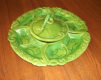 Serving Tray - Crudités Platter - Lane Ceramic - Lane 8434 Ceramic - 6 Piece Serving Tray - Vegetable Platter - Divided Serving Tray