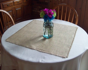 Wedding Table Squares Set of 8, Burlap Table Squares, Table Overlays, Rustic Wedding, Summer Wedding Decor, Spring Wedding Table Decor