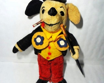 Vintage toy : Vintage Toy, Little Dapper Dog. Interesting Old Felt SCHUCO Dog Character, Top Dog Collectors Toy