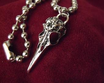 Silver Pendant Necklace,               Gothic Bird  Skull Choker   Handmade