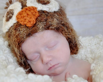 Newborn Baby Photograpy Prop owl beanie with flaps (sizes nb, 1-3mos, 3-6mos, 6-12mos)
