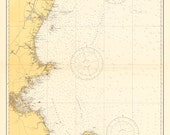 Vintage 1935 Nautical Chart of The New England Coastline - AtomicPhoto