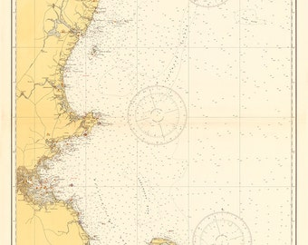1935 Nautical Chart of The New England Coastline