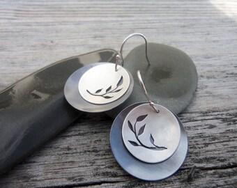Sterling Silver & Leaf Branch Earrings.  Handmade