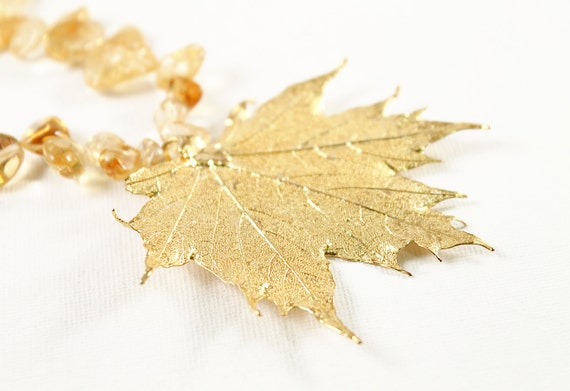 Gold real leaf necklace citrine gemstone jewelry