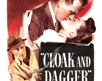 """Cloak and Dagger - Movie Poster Print  13""""x19"""" - Vintage Movie Poster - Gary Cooper - Home Theater Media Room decor"""