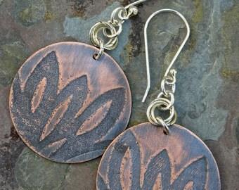Embossed Copper Flower Petals Earrings with Dark Brown Patina