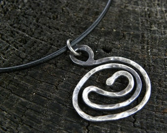 Fine Silver Coiled Necklace on a Black Leather Cord with a Sterling Silver Lobster Clasp