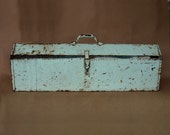 Vintage Industrial Tool Box Green Blue Flower Box Farmhouse Style 1950s 50s