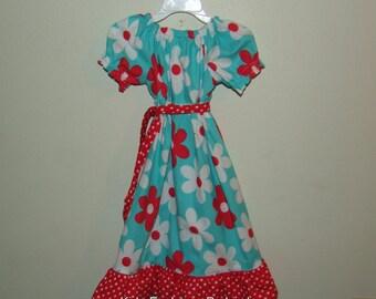 Lil Plain Jane in Aqua Peasant Dress
