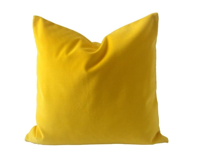 18x18 Bright Yellow Cotton Velvet Pillow Cover- Square Decorative Throw Pillows- Invisible Zipper Closure- Knife Or Piping Edge