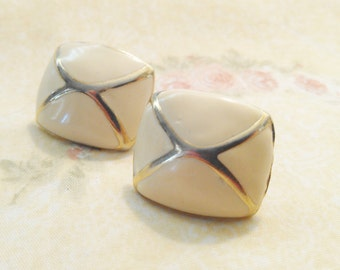 Vintage Gold and Ivory Enamel X Design Rectangle Shape Earrings - Pierced