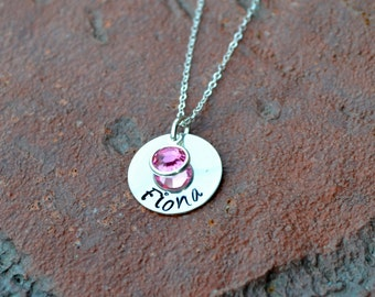 Hand Stamped necklace Sterling Silver Necklace with swarovski crystal birthstone drop