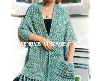 Instant Download PDf Easy Quick Beginners Knitting Pattern to make a Chunky Shoulder Wrap Stole with Pockets Evening Shawl